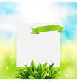Paper note with ribbon and leaves on bright summer vector