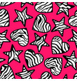 Zebra print hearts and stars background vector