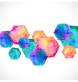 Watercolor bright hexagon over white vector
