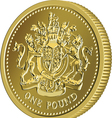 British money gold coin one pound vector