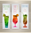Set of watercolor cocktail banners vector