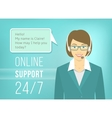 Call centre support woman with headphones vector