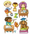 Schoolchildren set 1 vector