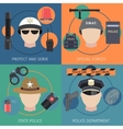 Police flat set vector