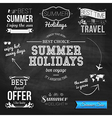 Summer design on chalkboard background set of vector
