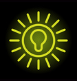 Simple and elegant green bulb icon on black enligh vector