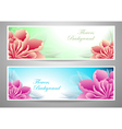 Two flowers banners red magenta peony vector