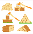 Firewood chop icons vector