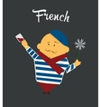 French man cartoon character citizen france in vector