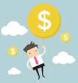 Businessman hanging money balloon vector