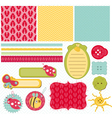 Design elements for baby scrapbook vector