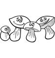 Mushrooms cartoon for coloring book vector