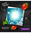 Card with hot summer sun on a chalkboard vector