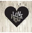Heart on wooden texture card vector