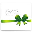 Greeting card with a green ribbon vector