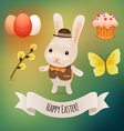 Bunny and easter symbols vector