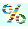 Percent from stacks of multi colored books vector