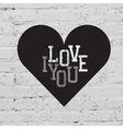 Heart sign on white brick vector