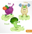 Vegetables engage in sports part 3 vector