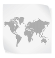 World map over white paper sticker isolated on vector
