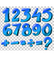 Numbers and math symbols in blue color vector