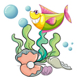 A smiling fish under the sea near the shells vector