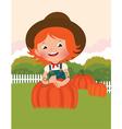 Little farmer of pumpkins vector