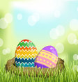 Easter eggs on basket the grass vector
