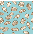 Vintage food snacks pattern vector