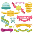 Wedding vintage frames ribbons vector