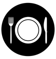 Fork plate and knife button vector