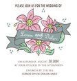 Wedding invitation with ribbon and flowers vector