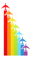Rainbow airplanes vector