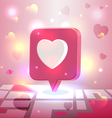 Liked romantic place pin icon over city block map vector