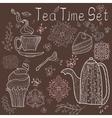 Tea time set card vector