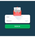 Envelope e-mail flat icon with log in button vector