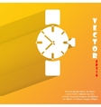 Watchclock flat modern web button with long shadow vector