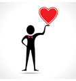 Man holding a heart icon vector
