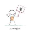 Zoologist holds a placard with a spider vector