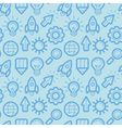Seamless pattern with icons and signs in outline s vector