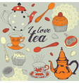 Seamless background love tea vector