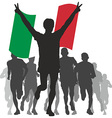 Winner with the italy flag at the finish vector