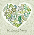 Spring card design with heart made of leaves vector