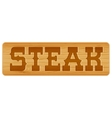 Nameplate of wood for menu with word menu vector