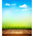 Wooden deck in front of green grass and blue sky vector