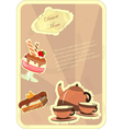 Beautiful vintage card with a strawberry dessert vector