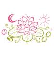 Lotus floral element yin yang vector