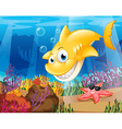 A yellow shark under the sea with starfish and vector
