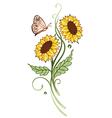Sun flowers summer time vector