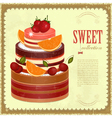 Big chocolate fruit cake vector
